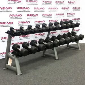 Hampton Dura-Pro Urethane Dumbbell Set - 5 lb. to 50 lb. on rack