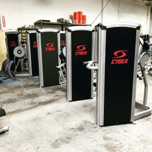 Custom black Cybex strength equipment