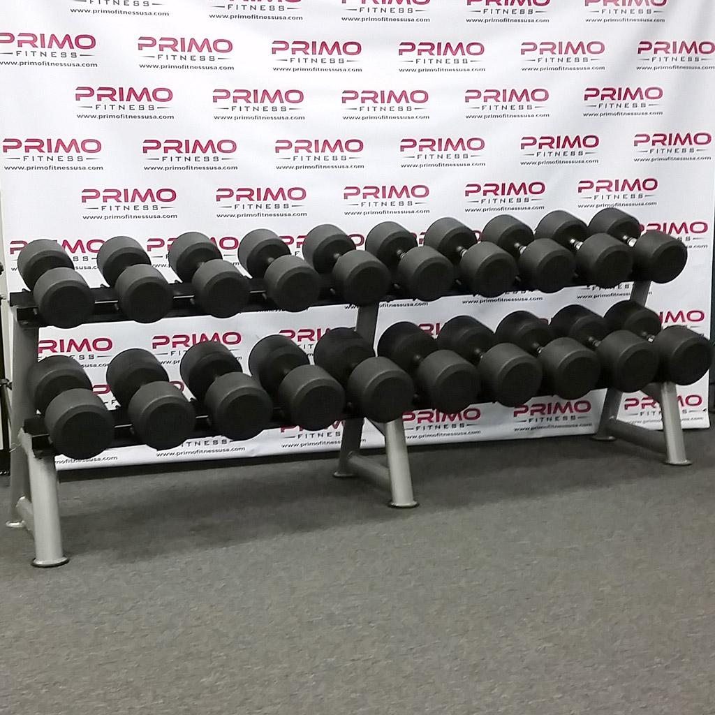 55 100 lb hampton dura pro round urethane dumbbell set primo